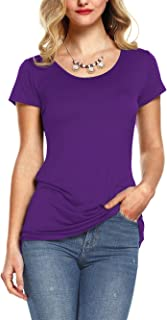 Amoretu Women's Plain Cotton Short Sleeve Shirts Tee Tops Scoop Neck T-Shirts