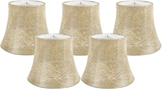 Meriville Set of 5 Faux Leather Clip On Chandelier Lamp Shades, 4-inch by 6-inch by 5-inch