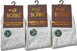 Bonas 3 Pack Men's Short Ankle Bamboo Socks. One Size (6-11 UK) Made in Turkey