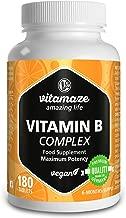 Vitamina B Complex alto dosaggio vegane 180 compresse 6 mesi di assunzione B1, B2, B3, B5, B6, B7, B9, B12 Prodotto in Germania senza stearato di magnesio