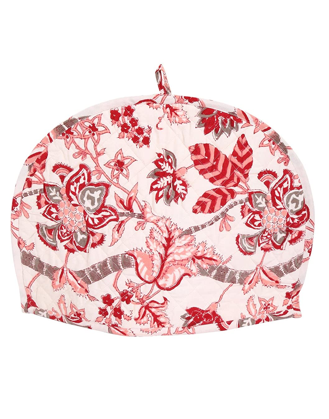 Pure Cotton Restaurant Accessories - Indian Ethnic Tea Cozies Floral Hand Block Printed Kettle Cover - Cute Pink and Off-White - 14x11 Inches