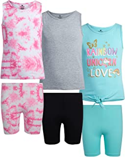 One Step Up Girls' Active Shorts Set - 6-Piece Performance Tank Top and Bike Shorts Kids Clothing Set (Little Girl/Big Girl)