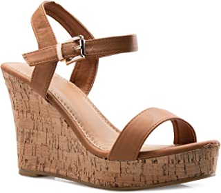 Olivia K Women's Open Toe Strappy Mid High Wedge Heel Wood Decoration Buckle Shoes Sandals