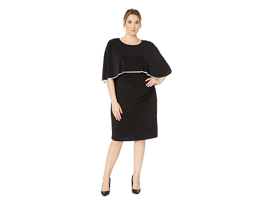 LAUREN Ralph Lauren Plus Size Abriel Two-Tone Day Dress (Black/Lauren White) Women