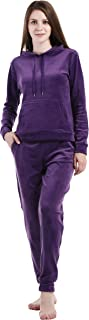 Women's Active Solid Velour Tracksuit Zip up Hoodie & Pullover Sweatshirts and Sweat Pant Sweatsuit