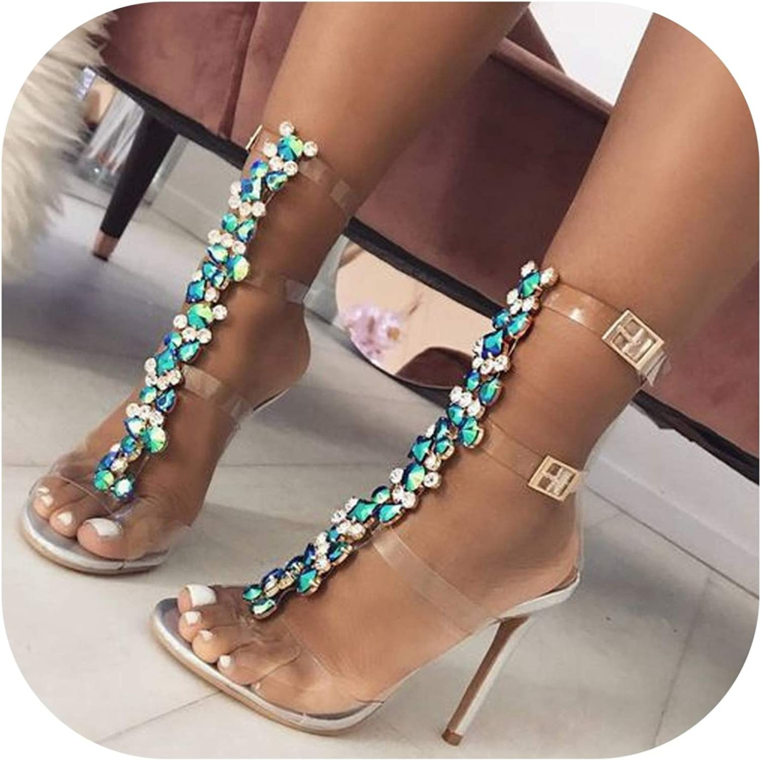 Summer Sandals Women Buckle Strap Luxury Crystal Chain T-Strap High Heel Open Toe Sexy Sandals shoes