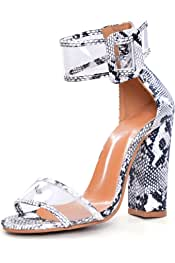 Other Women Pumps High Heels Sandals Appliques Snake Texture Ankle Strap Shoes Party Gladiator Sandals