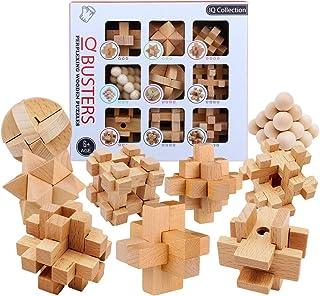 HMANE 9Pcs Wooden Brain Teaser Puzzle, IQ Test Toy, Kong Ming Lock Puzzle Disentanglement Puzzles Toy Unlock Interlock Gam...