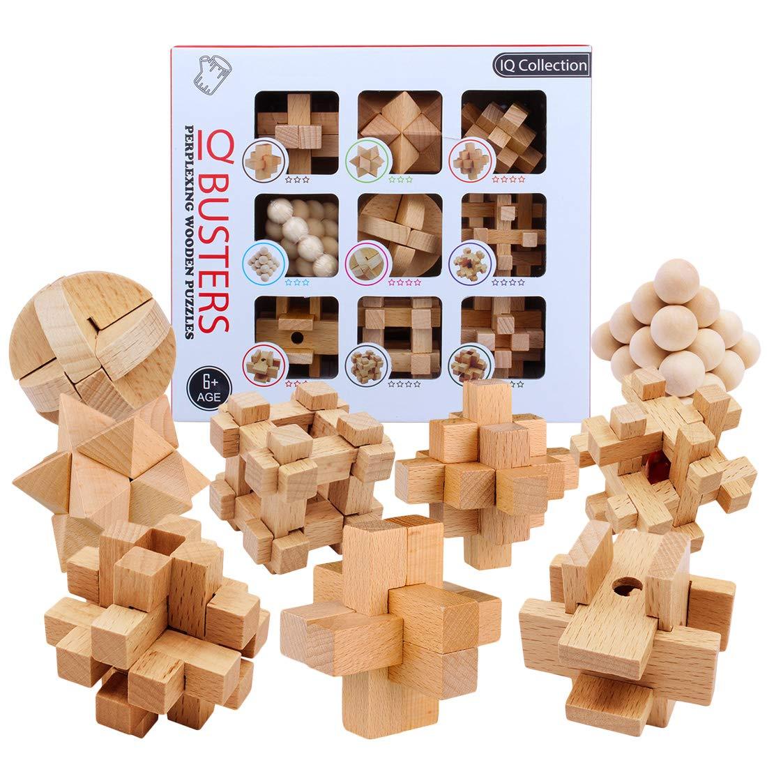 VenGo 9Pack Rompecabezas Madera Puzzles 3D Juegos de Ingenio Calendario de Adviento para Ni/ños y Adultos