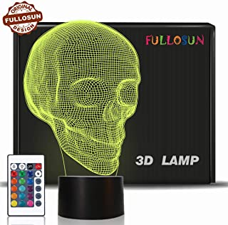 Skull 3D Lamp Optical Illusion Night Light, Death Model Birthday Gift Idea for Fan Xmas Valentine's Day Football Gift, Kids Boy Room Night Light with Remote Control 16 Colors Changing