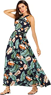 4280582ca6 Floerns Women's Sleeveless Halter Neck Vintage Floral Print Maxi Dress