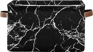 JinDoDo - Paniers de rangement carrés noirs à motif marbré - Boîte de rangement pliable et étanche pour armoire de salle d...