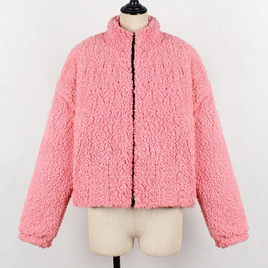 Damen Teenager Mädchen Plüschjacke, Frauen Wintermantel Warm Teddy-Fleece Kapuzenjacke Winterjacke Mantel Outwear Kapuzenpulli Strickjacke Trench Coat 3#rosa