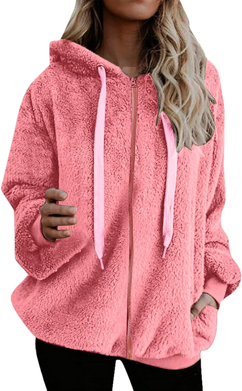 Lovor Women's Oversized Fleece Hoodie with Pockets Zipper Down Warm Fuzzy Sherpa Pullover Sweater Fluffy Sweatshirts