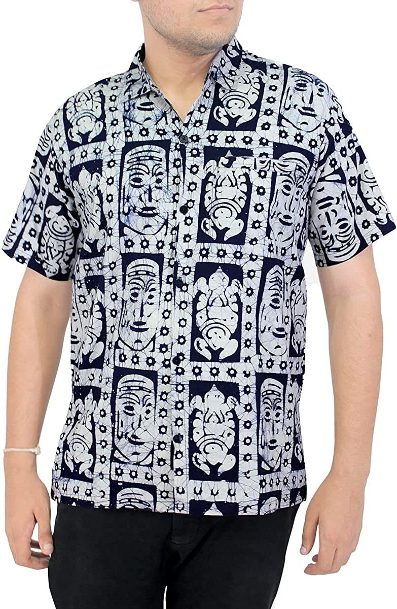 LA LEELA Men's Swim Relaxed Outfit San Antonio Mall Sleeve Short Up Fashion Hawaii Button