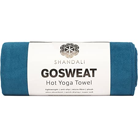 GoSweat Non-Slip Hot Yoga Towel by Shandali with Super-Absorbent Soft Suede Microfiber in Many Colors, for Bikram Pilates and Yoga Mats.
