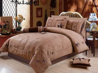 Rustic 7 Piece Luxury Beautiful Embroidery Western Texas Lone Star Lodge Oversize Micro Suede Comforter Set Light Dark Brown Bedding Set (King)
