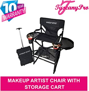 TuscanyPro Portable Makeup Chair & Storage Cart - Perfect for Makeup, Salon, Events with 25 Inch Seat Height - Carry Bag Included - 10 Years Warranty - US Patented