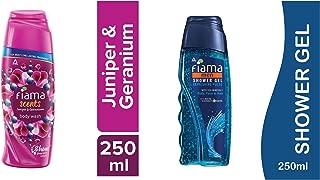 Fiama Scents Juniper and Geranium Body Wash, 250 ml & Men Refreshing Pulse Shower Gel, 250ml Combo