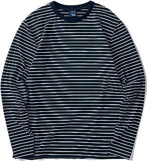 7dec19854ddc Zengjo Men s Casual Cotton Spandex Striped Crewneck Long-Sleeve T-Shirt  Basic Pullover Stripe