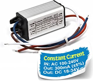 Chanzon LED Driver 300mA (Constant Current Output) 18V-34V (In:110-240V AC-DC) (6-10)x1W 6W 7W 8W 9W 10W IP67 Waterproof High Power Supply 300 mA Lighting Transformer Drivers for COB Chips (Aluminium)