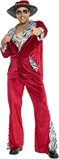 Mens Pimp Daddy Costume Burgundy Velvet Suit for Bachelor Stag Party Fancy Dress
