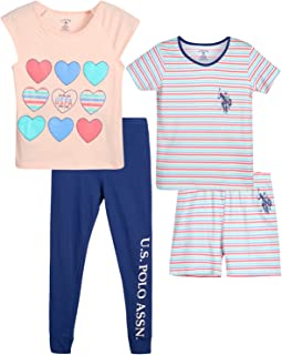 Girls' Pajama Set - 4-Piece Short Sleeve T-Shirt, Sleep...
