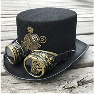 SHENTIANWEI Men Women Handmade Steampunk Top Hat with Gear Glasses Stage Magic Hat Bowler Hat Size 57CM