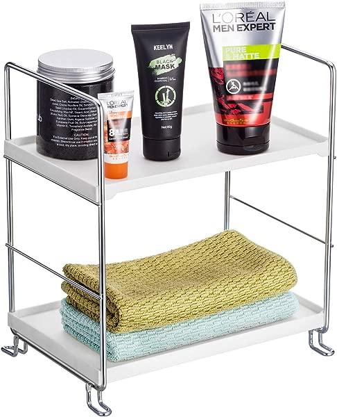 KINGBERWI 2 Tier Standing Storage Shelf Kitchen Bathroom Countertop Stackable Organizer Spice Rack Holder Silver