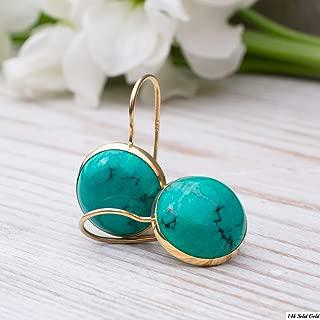 14K Gold Turquoise Earrings - 14K Solid Yellow Gold Dangle Drop Earrings, December Birthstone, Dainty 12mm Turquoise Gemstone, Simple Minimalist Handmade Jewelry Statement Earrings