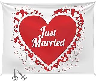 Geschenke 24 Hochzeitsherz zum Ausschneiden mit Zwei Scheren: Bettlaken mit Herzmotiv Just Married zum durchschreiten - Hochzeitsgeschenke für Brautpaare
