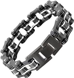 Silking Jewelry Heavy Metal Stainless Steel Men's Motorcycle Bike Chain Bracelet Silver Bangle