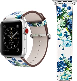 Watch Strap - JAMMYLIZARD Flower Floral Pattern Replacement Wrist Band with Metal Buckle 38mm for the Apple Watch, White & Blue