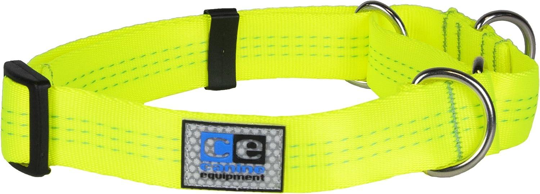 Canine Equipment 1  Technika All Webbing Martingale Dog Collar, Large, Neon Yellow