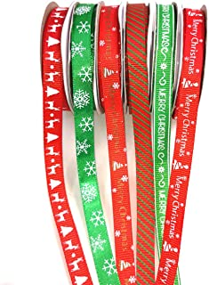Christmas Ribbon WHITE WITH RED /& GREEN MERRY CHRISTMAS ~ 5 yard 9mm Wide