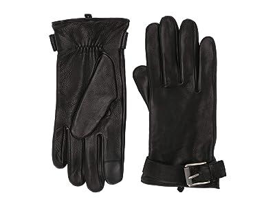 Frye Deerskin Buckle Gloves (Black) Over-Mits Gloves