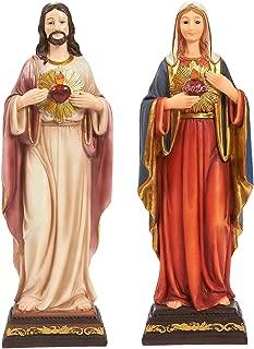 Juvale Pair of Virgin Mother Mary Figurine and Jesus Christ Figurines - Catholic, Religious Resin Statues for Christmas Nativity, Sagrado De Corazon