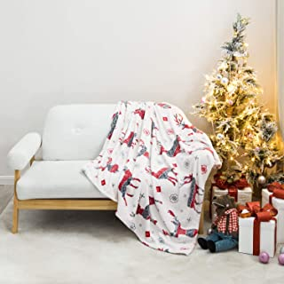 Bedsure Christmas Flannel Fleece Throw Blanket - Holiday Theme Home Decor,Super Soft Plush Warm Winter Blanket for Bed, Couch, and Gifts,Elk Pattern, 50 x 60 inches, Red/Grey/White