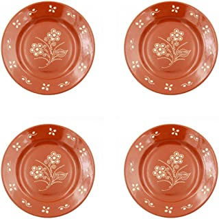 Portuguese Hand-painted Terracotta Dinner Plate - Set of 4