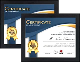 Tasse Verre 8.5 x11 Picture Frames (2-Pack) - Real Glass Front - Displays Certificates, Documents, and 8.5x11 Photos - Wood - Hang Vertically or Horizontally - Multi-Pack Degree Award Standard Paper