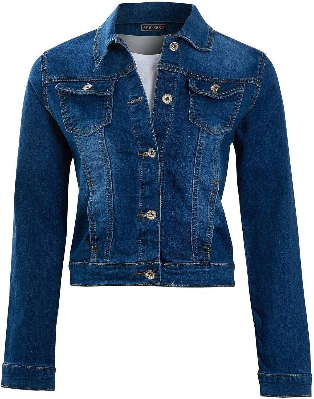 shelikes Womens Ladies Plus Size Denim Blue Black Vintage Summer Jacket S-5XL