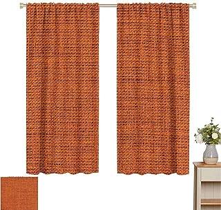 Burnt Orange Decor Sliding Curtain Rough Texture Close-up Thick Fabric Image Print Country Living Rustic Style Indoor Darkening Curtains W63 x L45 Burnt Orange