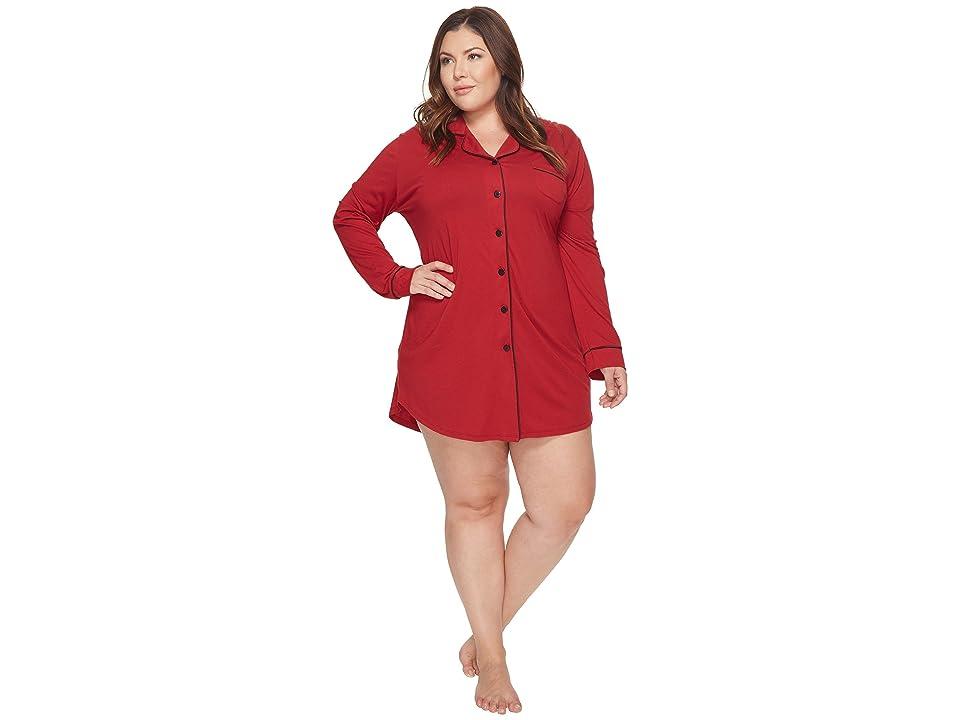 Cosabella Plus Size Bella Plus Nightshirt (Brick Red/Black) Women