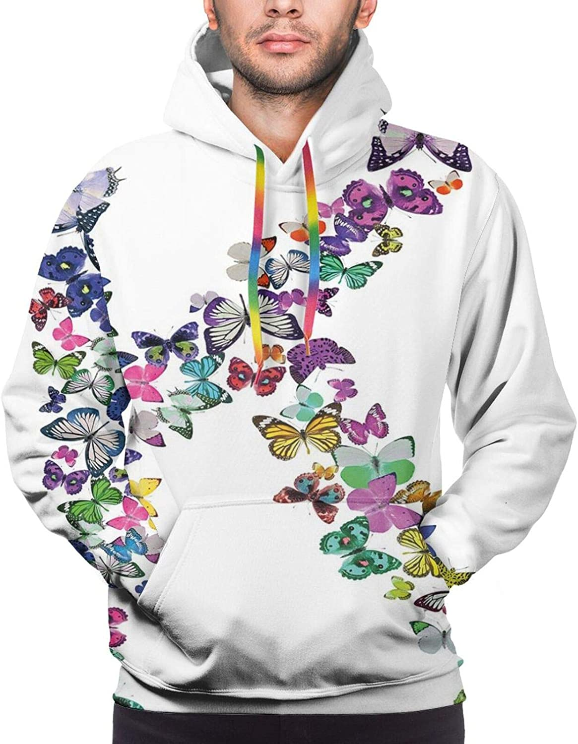 Men's Hoodies Sweatshirts,Nature Inspired Scroll Pattern Buds On an Abstract Background with Colorful Circles