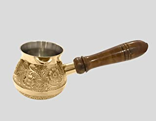 diollo 2.5 Inch Floral Brass Turkish Greek Arabic Coffee Pot Stovetop Coffee Maker Kahwa Maker Kashmiri Kahwa Kettle Tibet...