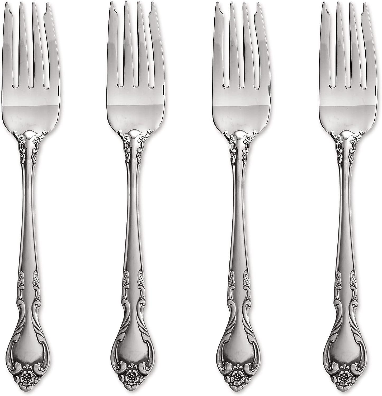 Lyon Queens Fancy 18 8 Stainless Over item handling Salad Fork Finally popular brand Set Steel of Four
