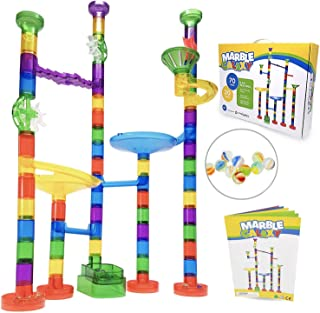 Marble Run Sets for Kids Activities - Marble Galaxy Fun Run Set Game - Translucent Marble Maze Race Track Indoor Toys - Educational STEM Toy Building Construction Games - 90 Pcs & Glass Marbles