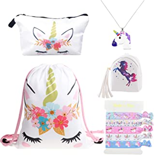 DRESHOW Unicorn Gifts for Girls Drawstring Backpack/Make Up Bag Unicorn Set Children Party