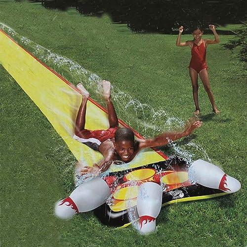 Bowling Waterslide - livré avec 3 Bouteilles de Bowling Lane Water Slide, Toboggan pour Enfants