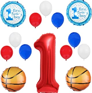 Red Blue White 14pcs Balloon Pack for 1st Birthday Sport Basketball Baby Boy Shower Party Decoration Supply - 40